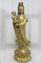 10.24 inch / Ancient Chinese bronze to send their children guanyin statue