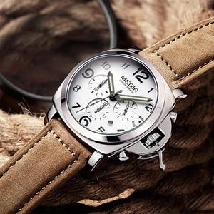 Image 5 - MEGIR Chronograph aydınlık erkek saatler Top marka lüks su geçirmez erkek spor kuvars saat hakiki deri kol saatleri 2016