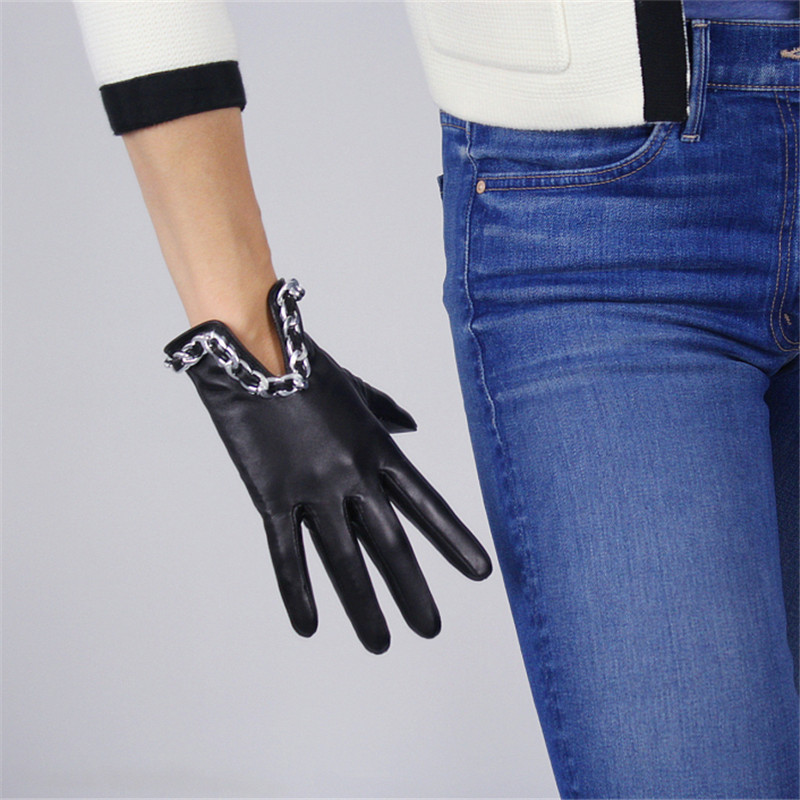 Touch Screen Gloves Genuine Leather Pure Imported Goatskin Black Female Silver Metal Chain Woman 39 s Touchscreen Mittens TB91 in Women 39 s Gloves from Apparel Accessories