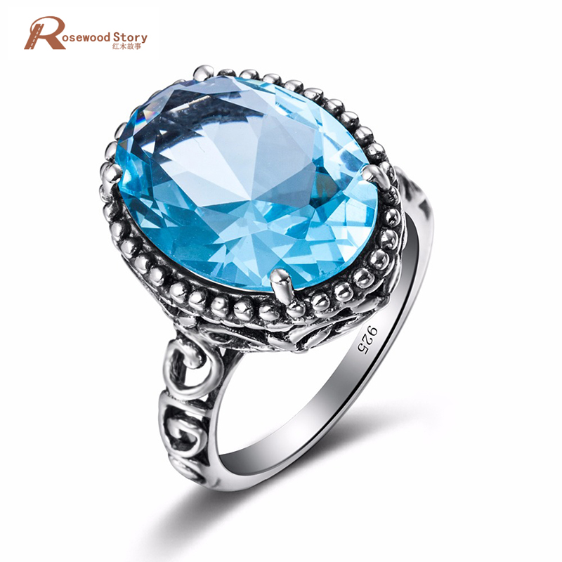 Fashion Jewelry Charms 925 Sterling Silver Sky Blue Crystal Ring Vintage Style Victoria Wieck Wedding Rings for Women Gifts