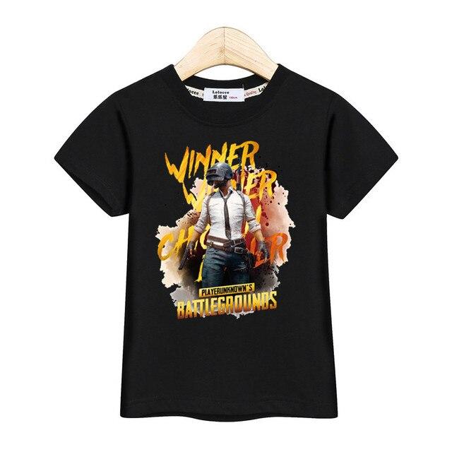 De chico adolescente muchacha adolescente camiseta niños PUBG camisa de verano de manga corta Camiseta niños H1Z1 tops ganador, ganador, cena de pollo camiseta