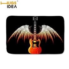 Hugsidea negro anime rojo Gibson Les Paul Guitarras encargo alfombras de bienvenida al aire libre esteras de interior dormitorio tapetes