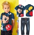 Children's sets fashion kids baby boy spring and autumn clothes set , mickey clothing set Short sleeve shirt and jeans YAA053