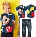Conjuntos de moda infantil das crianças do bebê menino primavera e outono roupas set, mickey conjunto de roupas camisa de manga Curta e calças de brim YAA053