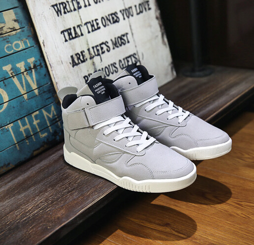 Newest Spring Men Shoes Trainers Leather Fashion Casual High Top Sport Walking Lace Up Ankle Boots