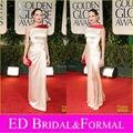 Angelina Jolie Vestido em 2012 Golden Globe Awards Red Carpet Um Ombro Alta Slit Prom Vestido de Cetim Celebridade Vestido de Noite