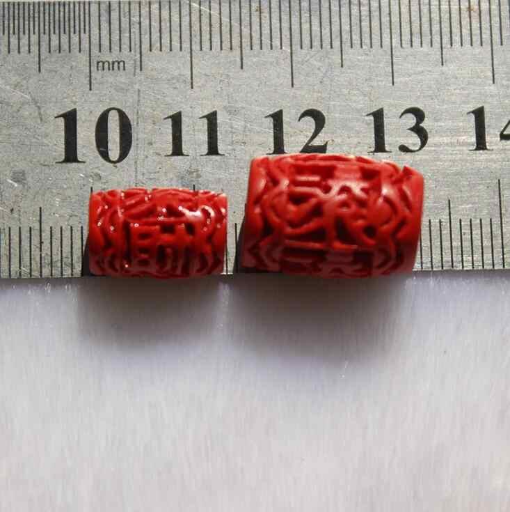 10 Cái/lốc Khắc Chu Sa Thùng Hạt 8.5X13 Mm 11.5X16 Đỏ Tự Nhiên Chu Sa Ống Hạt Cho vòng Tay Handmade Trang Sức Làm