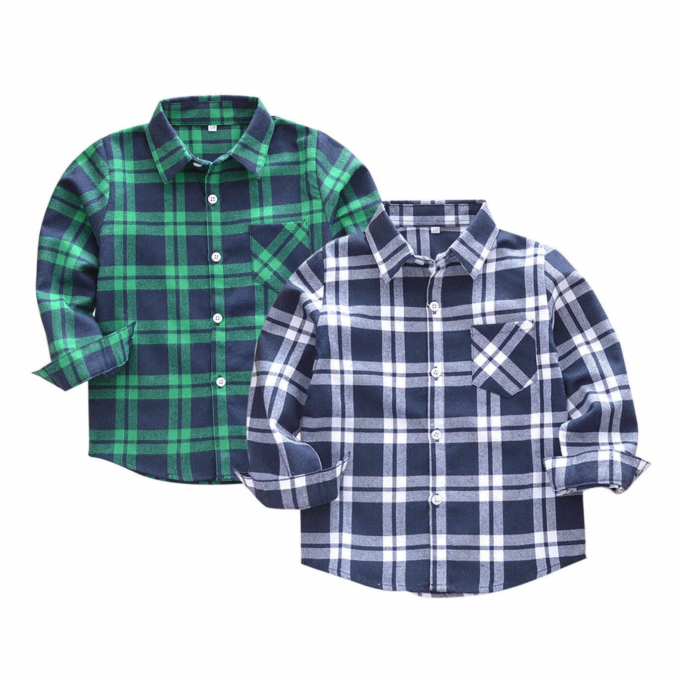 Crianças meninos meninas blusa xadrez camisas roupas camisas para meninos camisas de manga longa da criança blusas camisas mujer de moda 2019