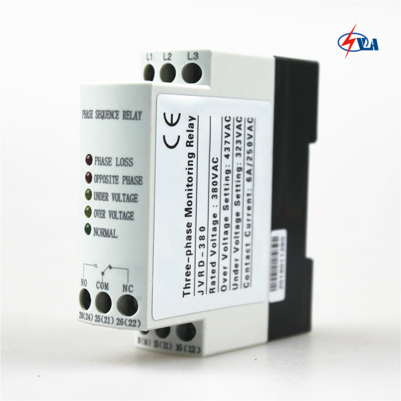 JVRD380 380VAC three-phase failure phase sequence relay vj5 lcd display phase failure sequence unbalance protective relay 3 phase and voltage relay