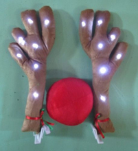 LED Light Antlers Red Nose Rudolph Reindeer Car Decor Truck Costume Christmas Decoration