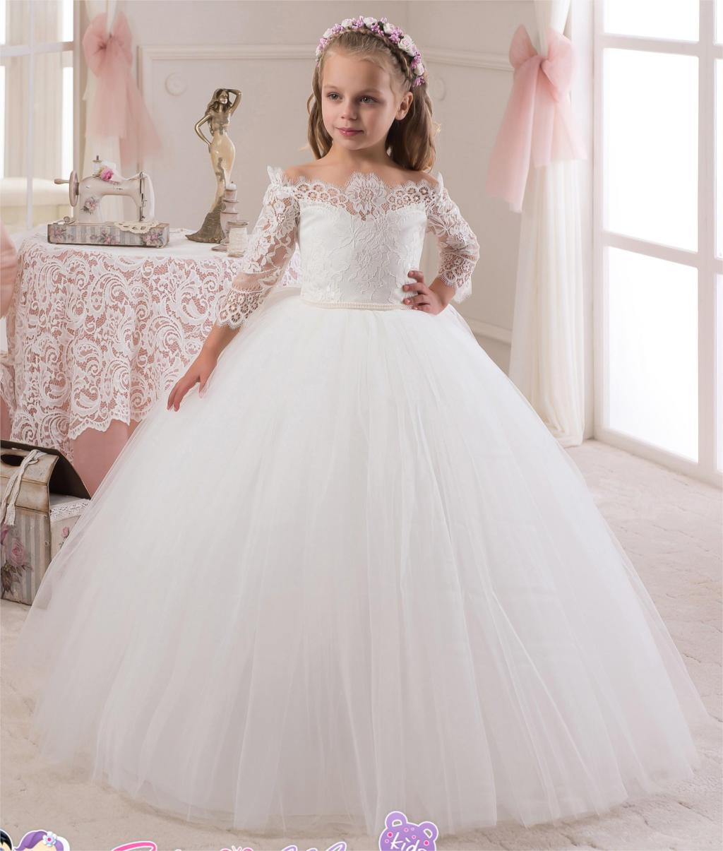 2016 Lace Long Sleeves Pearls Tulle Flower Girl Dresses Child