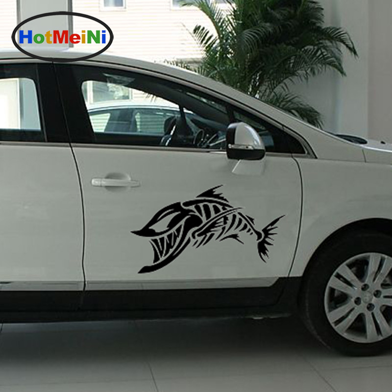 HotMeiNi 2 X Terrible Shape Skeleton Fish Heart Is How Small Funny Car Stickers Door Kayak Canoe Car Cover Vinyl Decal 9 Colors 15cm 10 5cm my other ride is a bobcat funny personality creative car stickers c5 0386