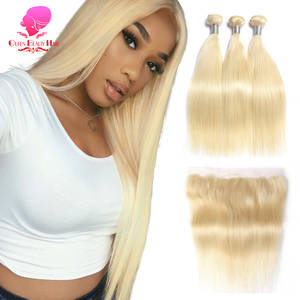 QUEEN BEAUTY 613 Blonde Straight Brazilian Hair Weave Human Hair Bundles with Closure 3PC Remy Hair and 1PC Lace Frontal Closure