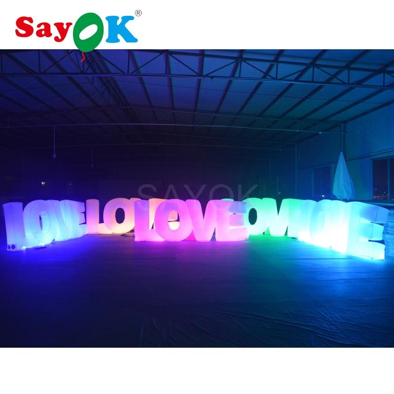 3.1x1.2 m Haute Géant Gonflable Amour Lettres AMOUR avec lumière led pour la Saint Valentin Anniversaire De Mariage décorations de fête