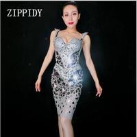 Fashion Shining Silver Sequins Rhinestone Dress Women Birthday Sexy Costume Prom Celebrate Bling Mirrors Dresses