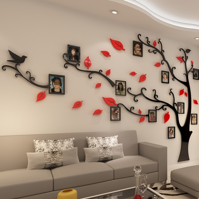 3D Acrylic Tree Photo Frame Wall Stickers Crystal Mirror Stickers Paste On TV Background Wall DIY Family Photo Frame Wall Decor-in Wall Stickers