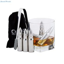 Sweettreats 6 UNIDS Forma de Bala de Acero Inoxidable Cubos de Hielo las Piedras del Whisky Esteatita Glaciar Enfriador Piedra Home Bar Accesorios