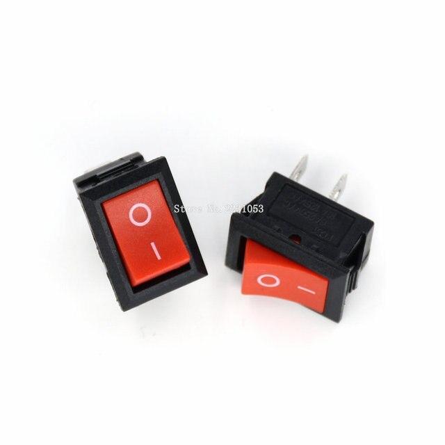 10 TEILE/LOS 15*21mm 2 Pin SPST ON/OFF Boot Rocker Schalter 6A 10A 110V 250V KCD1 101 Snap in Red Rocker Schalter 117S