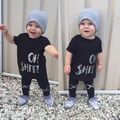 2016 Casual Baby Sets Boy Clothes Letter Oh Shit Print Black Short Sleeve T-shirt +Cross Pattern Pants 2pcs Outfits Set 0-5Y