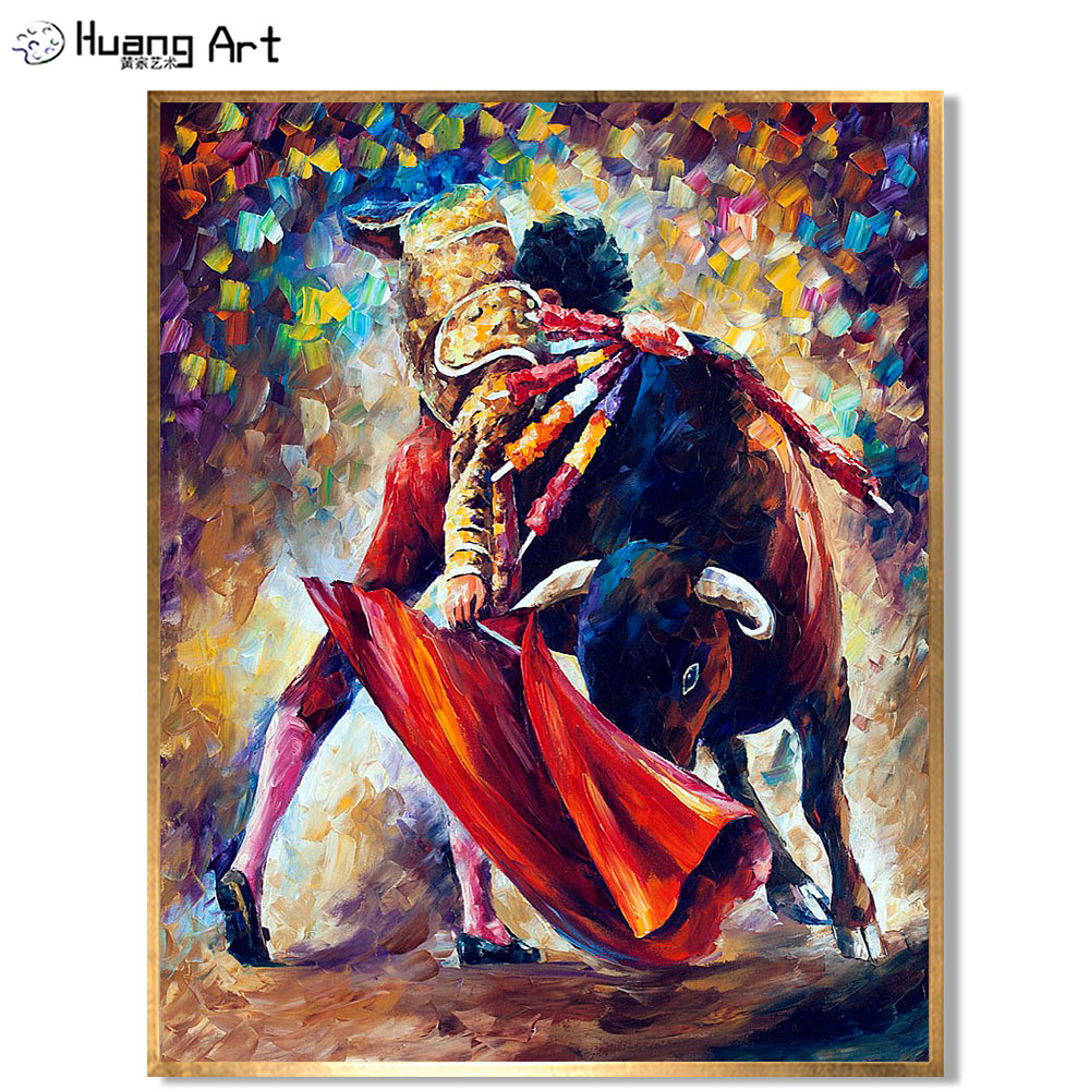 Hand Painted Bullfighting Painting Knife Spanish Bullfighter Canvas Pictures Abstract Oil Painting Absract Knife Portrait Art