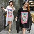 Estilo coreano ocasional de la gasa suelta más el tamaño xl-4xl mujeres de dos piezas vestidos de traje y chaqueta de punto 2017 del verano de la nueva señora dress