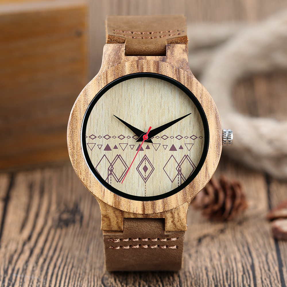 New arrivals Rhombus Pattern Natural Bamboo Wood Men Watches Handmade Genuine Leather Vogue Male Hour Clock Gift Reloj de madera