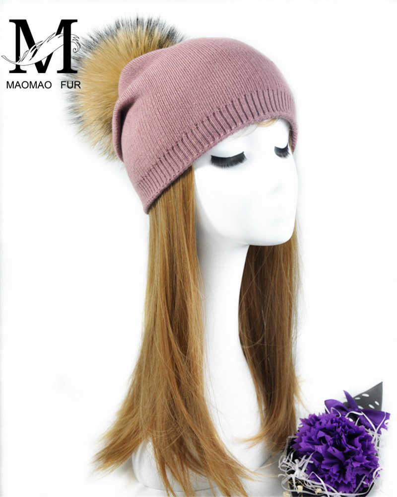 1974e534268 ... Women Spring Wool Real Fur Pom Pom Hats Female Natural Raccoon Fur  Beanie Hat Winter Cashmere ...