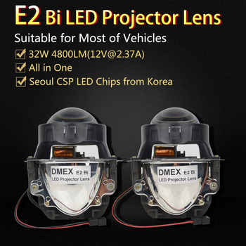 DMEX 2PCS 32W 4800LM 6000K White 3.0 inch E2 Bi LED Projector Lens HeadLight Light for Car HeadLight