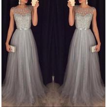 Modest Grey Silver Beading Prom Dresses 2019 A Line Tulle Vestido Longo Abiti Da Cerimonia Donna
