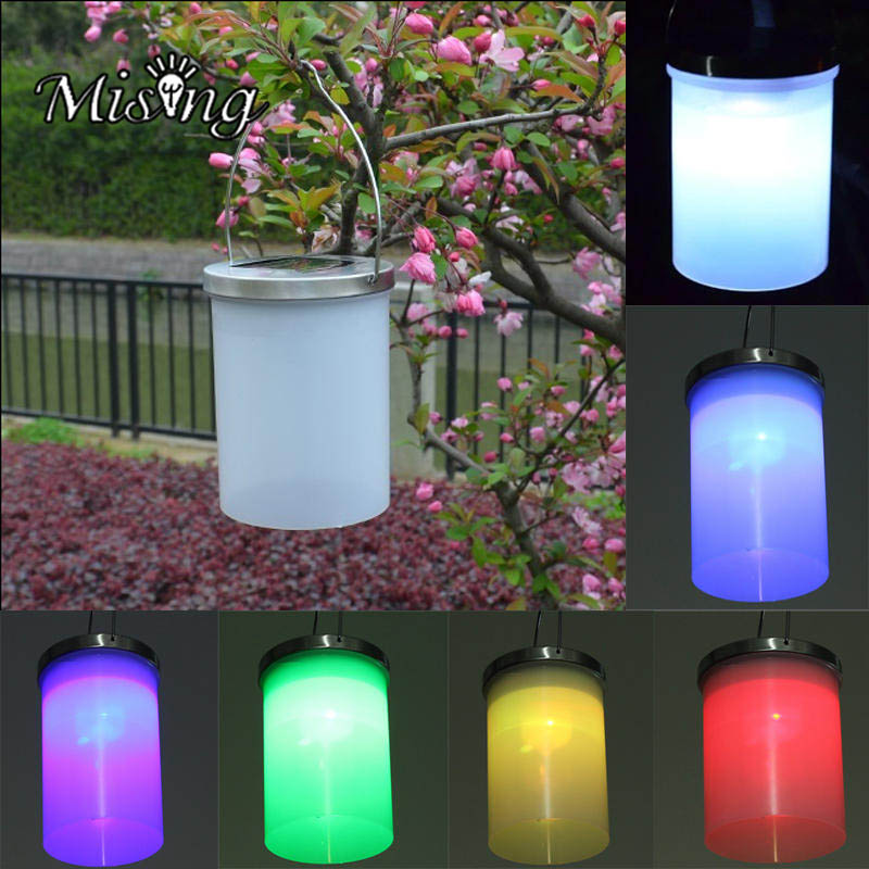 Mising Stainless Steel Solar Powered Hanging Light 3 Color LED Landscape Path Yard Garden Outdoor Patio Holidays decoration Lamp