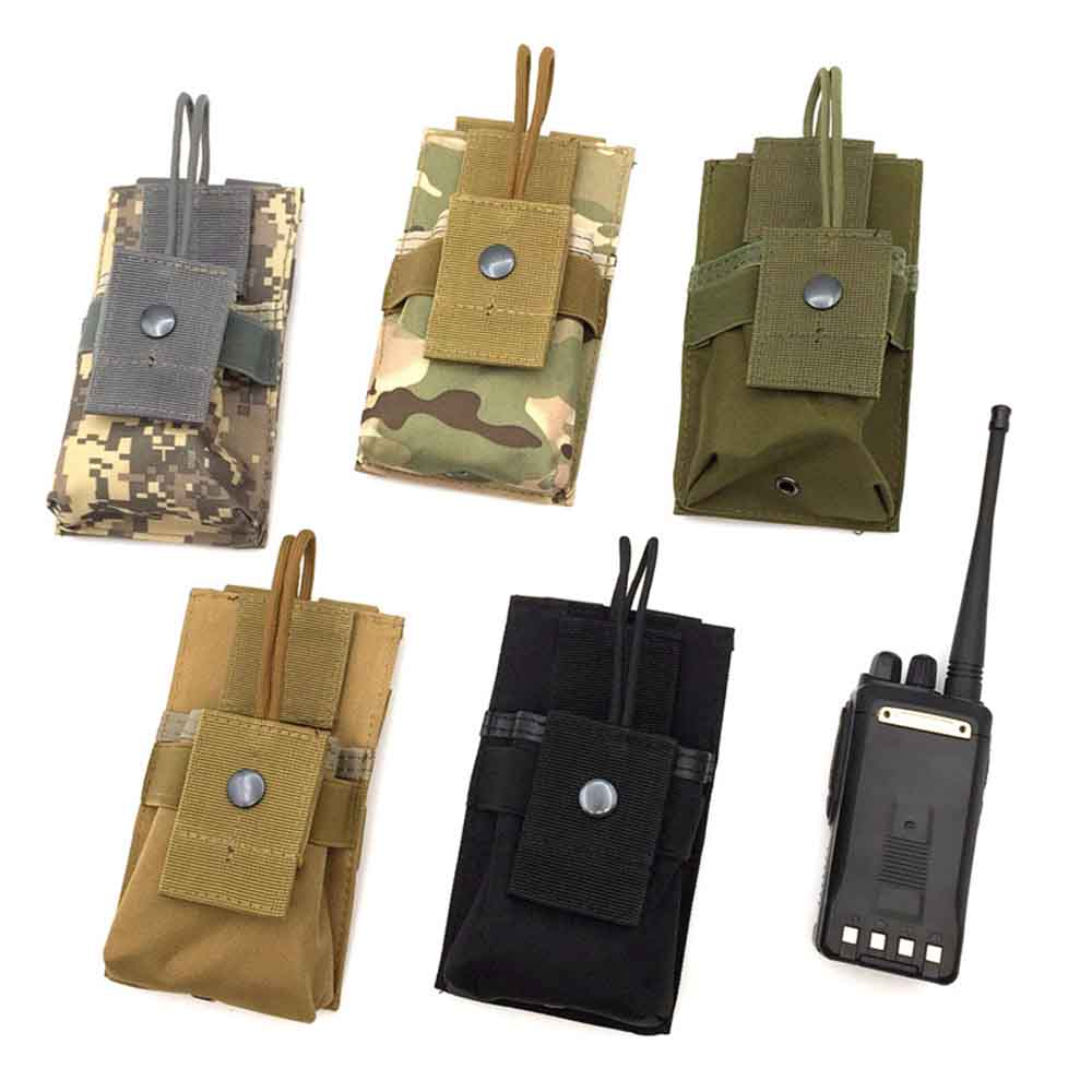 Molle Tactical Walkie Talkie Bag Military Waist Radio Pouches <font><b>M4</b></font> <font><b>Magazine</b></font> EDC Bag for Outdoor Hunting Accessories image