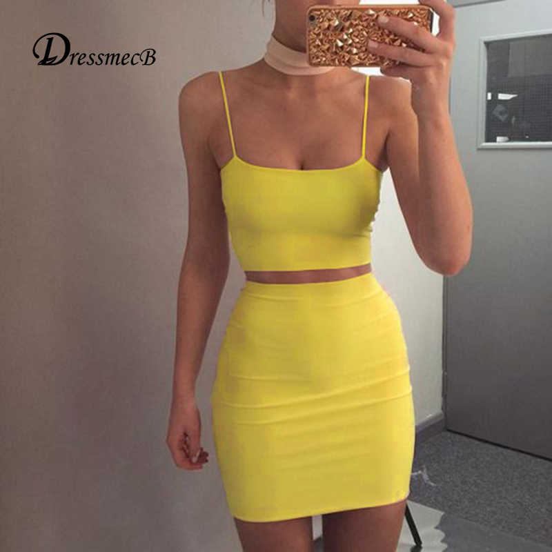 DRESSMECB 2017 New Sexy Women Slash Neck Dress  Spaghetti Strap solid yellow Stitching Slim bodycon Nightclub Party Dress whole