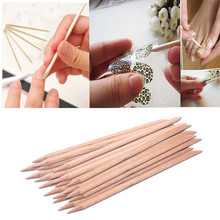 New 20pcs/set 	Orange Women Lady Double End Nail Art Wood Stick Cuticle Pusher Remover Pedicure Manicure Tool se5