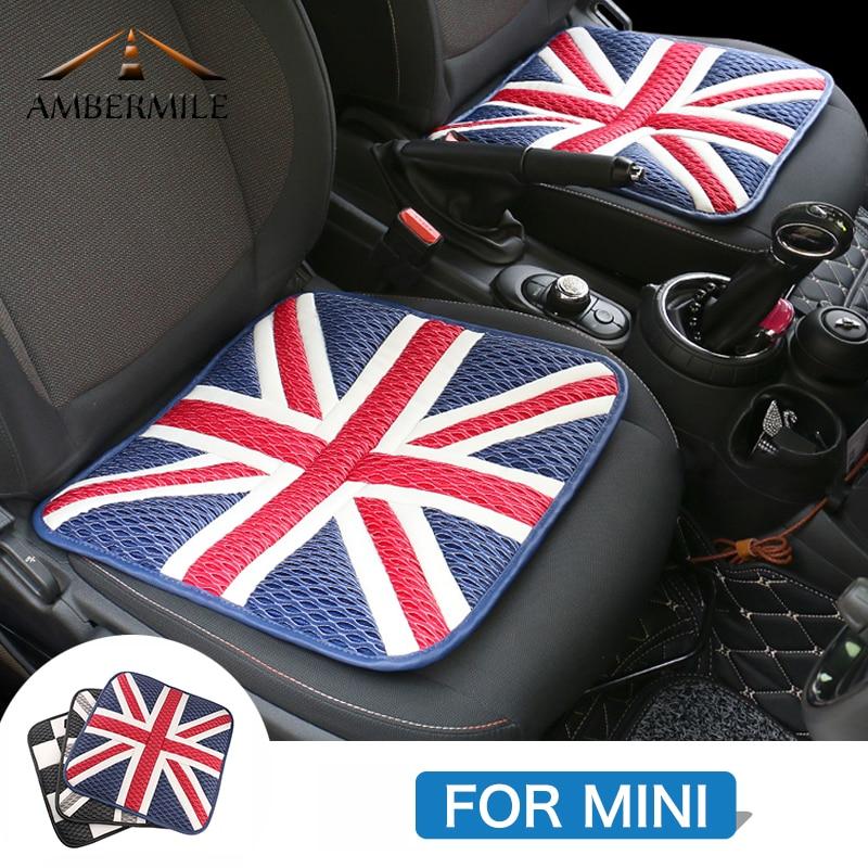 AMBERMILE For Mini Cooper F54 F55 F56 F57 F60 R56 R50 R53 R60 R55 R57 JCW Accessories Union Jack Car Seat Cover Car Seat Cushion