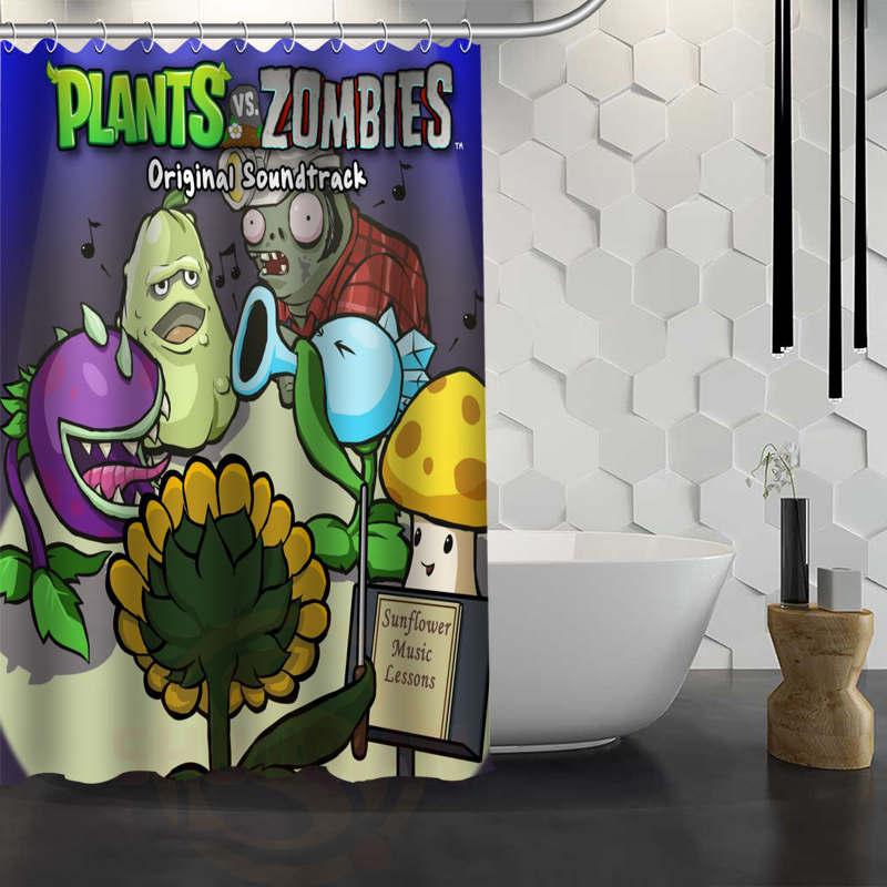 Custom Plant Vs Zombie Shower Curtain With Hooks Fabric Bath Curtain for Bathroom WJY1.17
