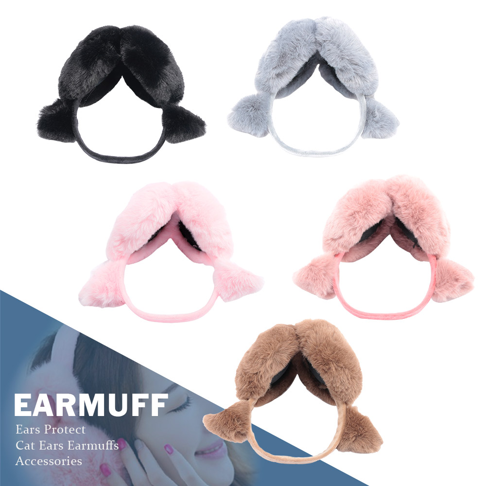 1Pc Cute Cat Ears Plush Earmuffs Wool Warm Earmuff Women Plush Winter Outdoor Protect Ears Winter Accessories