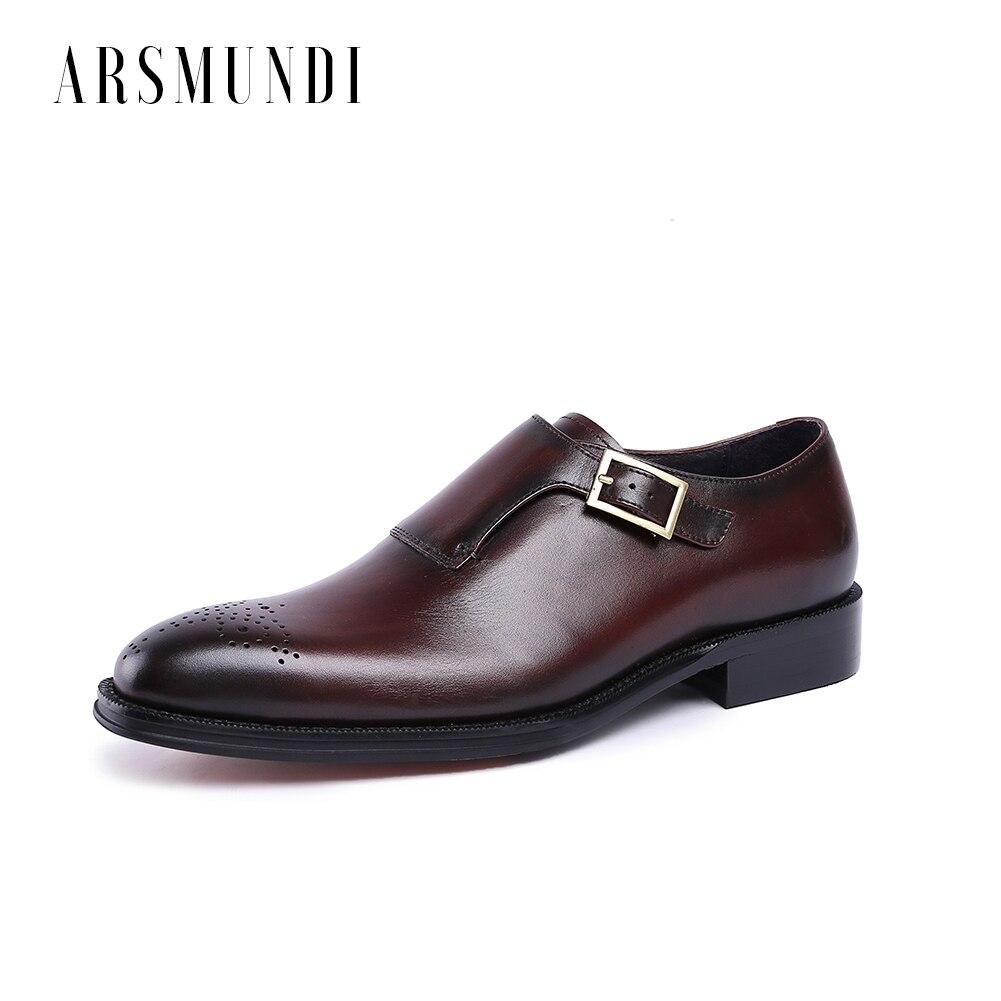 Homens de Couro Genuíno Vestir Sapatos Derby Fivela Couro do couro Alça de Porco Interior de Casamento Do Dedo Do Pé Quadrado Sapatos De Negócios 2018 Novo