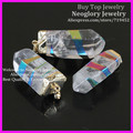 5pcs Nature White Crystal Quartz Point Pendants with Gold Electroplate Cap and Aura Rainbow Stripe Druzy Quartz Pendant