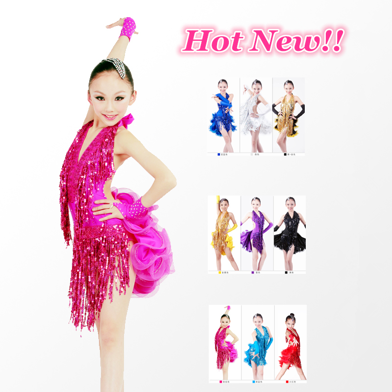 Hot New Shining Tassels Backless Latin Dress for Girls Performance/Competition Costume,Professional Stage Dancewear,7 Colors