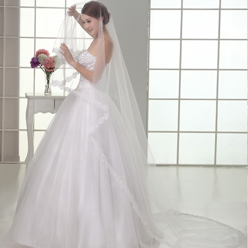 2018 Wedding Short Bride Veil White Dress Soft Yarn 3 Meters Long Trailing Accessories Bridal 6048 In Veils From Weddings