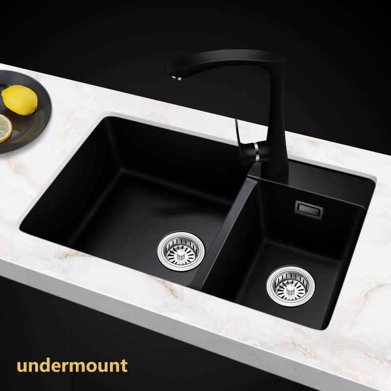 Quartz Kitchen sink Free shipping double groove double bowl vegetable  washing basin pots quartz stone Sinks Granite fregadero