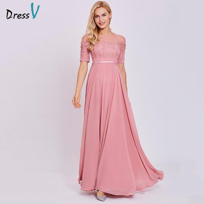 Dressv Peach Long Evening Dress Cheap Scoop Short Sleeves A Line Zipper Up Wedding Party Formal Dress Appliques Evening Dresses
