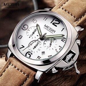 Image 4 - Бесплатная доставка MEGIR 3406 стильные кварцевые часы для мужчин с ремешком из натуральной кожи нубука мужские водостойкие наручные часы с аналоговым дисплеем