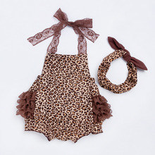 YK&Loving Lace Leopard Baby Romper Infant Clothing New Cotton Spring Summer Ruffles Clothes Set Newborn Girls matching Headband