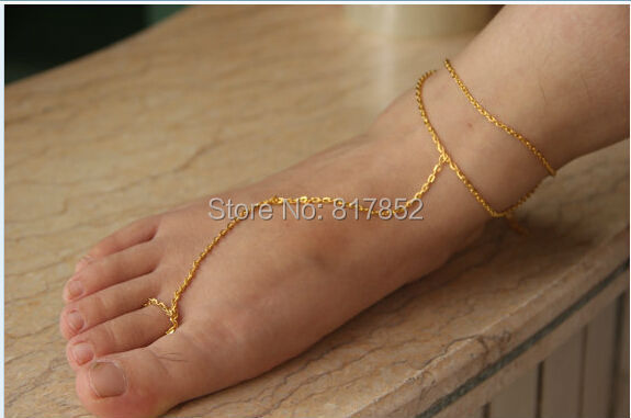FREE SHIPPING New Style L56 Women Fashion Gold Chain Anklet Two Layers Chains Jewelry 3 colors