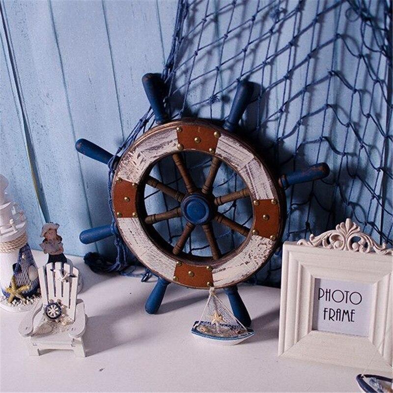 Créative en bois artisanat américain bois gouvernail Figurine tenture murale décoration décoration maison accessoires cadeau
