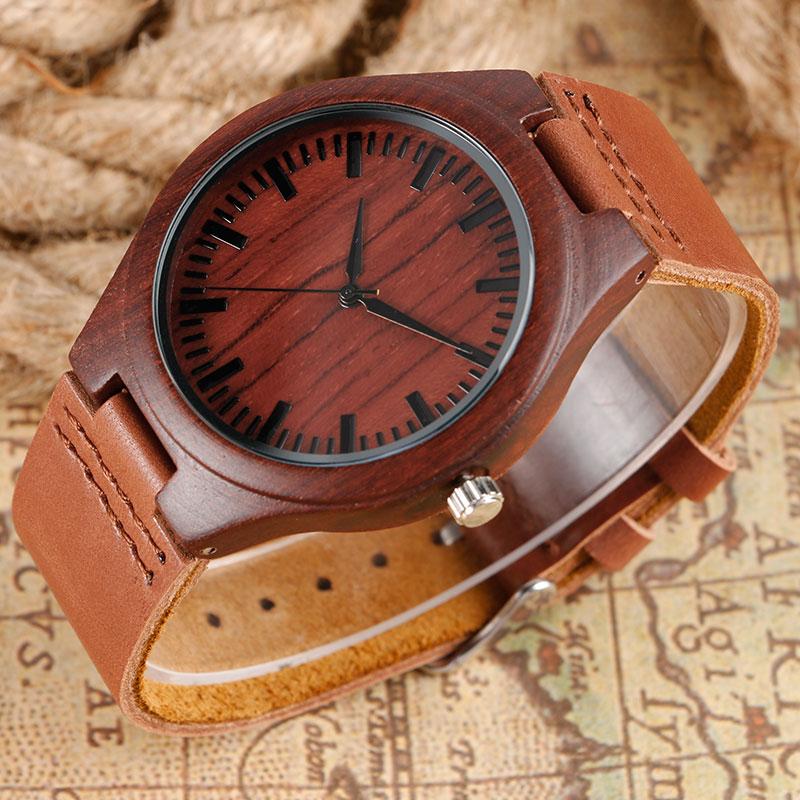 Unikalny czerwony klon Natrue Ręcznie robiony zegarek kwarcowy z - Męskie zegarki - Zdjęcie 2