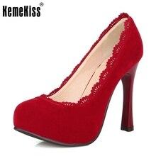 Mujeres delgadas de tacón alto zapatos de plataforma del dedo del pie puntiagudo marca femenina moda sexy de tacón alto bombea talones de los zapatos más el tamaño grande 30-48 P16619
