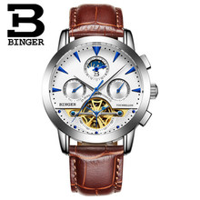Men Luxury Switzerland Brand Binger Automatic Mens Wristwatch Male Man Leather Watches Waterproof relogios masculinos army Watch