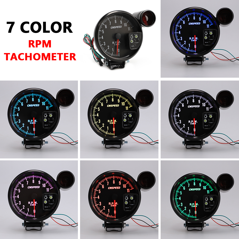 5 Inch RPM Meter Racing Car Gauge Auto Tachometer 11000k With Led Shift Light 7 Color Displaying For 4 6 8 Cylinder Vehicles